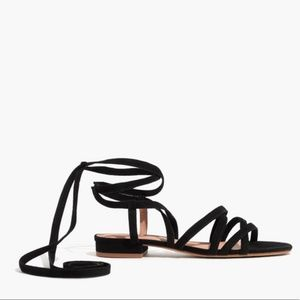 Madewell Black Holly Ankle Strap Flat Sandals
